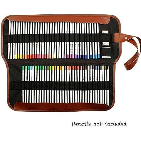 Yosoo Canvas Pencil Wrap, soporte para el lápiz 72Color lápices caso rollo multiusos bolsa para Escuela Oficina Art. Suave Lápiz Bolso de Viaje hace sus lápices