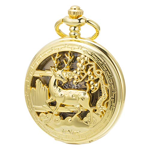 ManChDa Vintage Taschenuhr Gold Reindeer Hirsch Hollow Case Retro Skeleton Mechanical für Herren Damen mit Kette + Geschenkbox