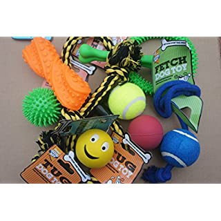 BARGAIN DOG TOY SET SELECTION OF BEST SELLING DOG TOYS X 10 SQUEAKY, FETCH, CHEW, TUG TOYS