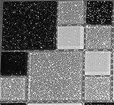 10x10cm Muster. Glas Mosaik Fliesen Muster mit Steinen in Zwei Größen Schwarz, Weiß und Silber mit Glitzer MT0034 Muster