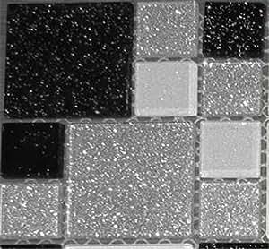 10x10cm muster glas mosaik fliesen muster mit steinen in zwei gr en schwarz wei und silber. Black Bedroom Furniture Sets. Home Design Ideas