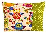 TryPinky® Kissenhülle Babykissen 30 X 40 cm Große Eulen Weiß Grün Punkte kuschelkissen Kissenbezug 100% Baumwolle BW Kinderzierkissen Eule