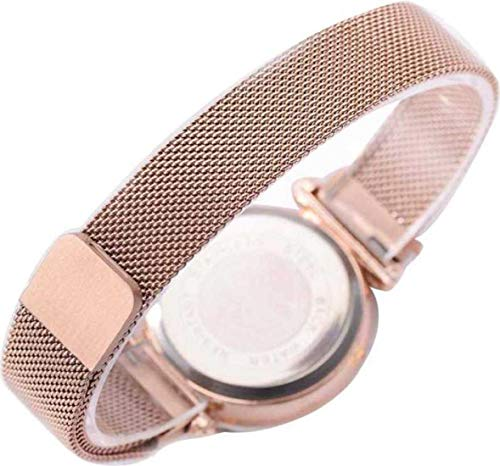 Harmi Creative Luxury Mesh Magnet Buckle Starry Sky Quartz Watches for Girls Fashion Clock Mysterious Gold Lady Analog Watch - for Girls (Gold)