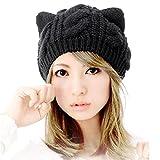 Bonnets et Chapeaux Femme, Kfnire oreilles de chat chaudes aux femmes chanvre fleurs chapeau tricoté (noir)