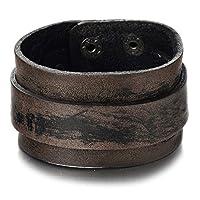 COOLSTEELANDBEYOND Retro-Stijl Heren Bruine Lederen Armband Brede Lederen Armband Armbanden met Drukknoop