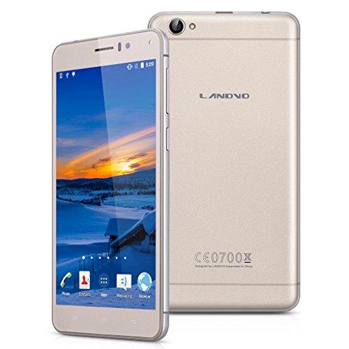 Landvo XM100 plus - Smartphone Libre 3G Android 5.1 (Pantalla 5.5 Pulgadas, Despierta inteligente, Cámara 8.0 MP, MT6580A, Quad Core, 1.3GHz, 2G RAM, 16G ROM) (Dorado)