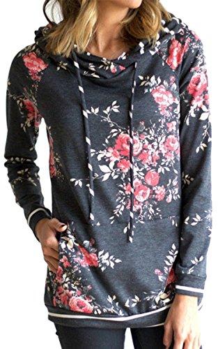 Angashion Damen Hoodies Langarm Kapuzenpullover-Blumenmuster Casual Sweatshirt Pullover Bluse Oberteile Hell Dunkelgrau1 S