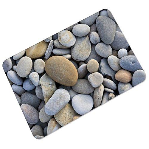 Ruiying Fußmatte 40 x 60 cm rutschfester PVC Unterlage Fußabtreter Printed pebbles Schmutzfangmatte und Sauberlaufmatte Fußabstreifer für Außen und Innen Matte (Flussbett Kiesel)