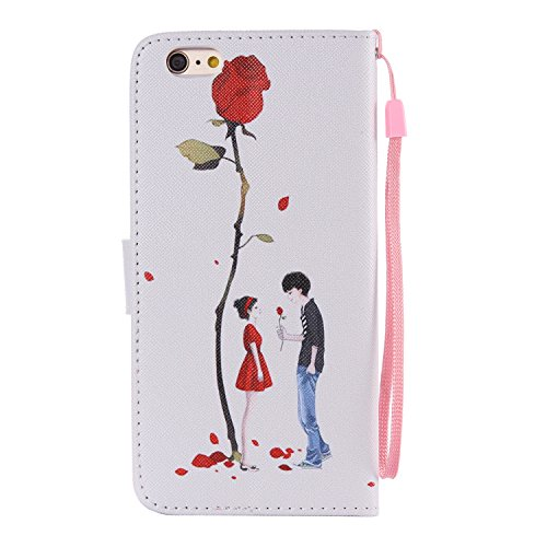 Schutzhülle für Apple iPhone 6S Plus (2015)/iPhone 6 Plus (2014) 5.5 Zoll case Wallet Leder Schale Tasche Magnet PU Hülle Handy Silikon Back Cover Etui Skin Shell Purse Portemonnaie Geldbörse(Standfun Heiratsantrag stellen