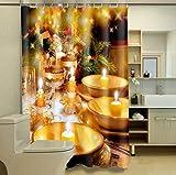 TINE HOME CURTAINS Weihnachts-Duschvorhang 3D Fotodruck Polyester schimmelfest Badezimmer Stoff Block Vorhang mit Haken, Polyester Textil, 180 * 200 cm