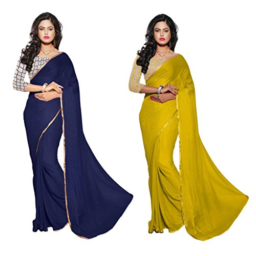 Reveka Combo Pack Of Blue & Yellow Plain Chiffon Sarees With Blouse