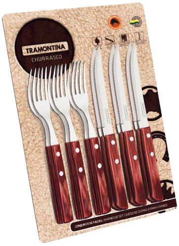Tramontina 21199/711Set di posate da 12pezzi con manico rosso, doppia/triplice chiodatura 6x coltelli da bistecca 5pollici, 6x forchetta da bistecca