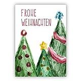Schöne Weihnachtskarte mit Aquarell Weihnachtsbäumen: Frohe Weihnachten