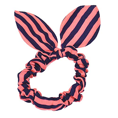 VRTUR Damen Pferdeschwanz-Halter, Streifen/Karo-Print, Hasenohren, Haarring, Seil Hairband(Einheitsgröße,B)