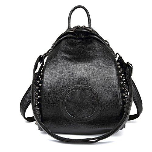 Umhängetasche Handtaschen Leder Nieten Wasserdicht Gezeiten Reisen Freizeit Persönlichkeit Black