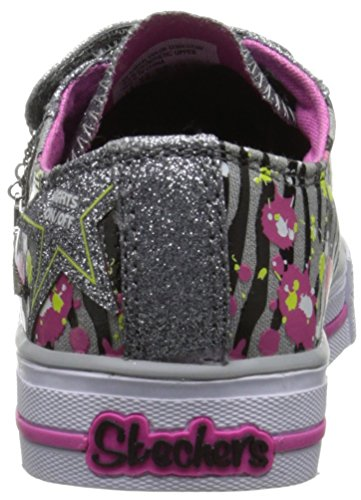 Skechers Shuffles Glitter N Glitz, Baskets Basses Fille Gris (Charcoal/Rose)
