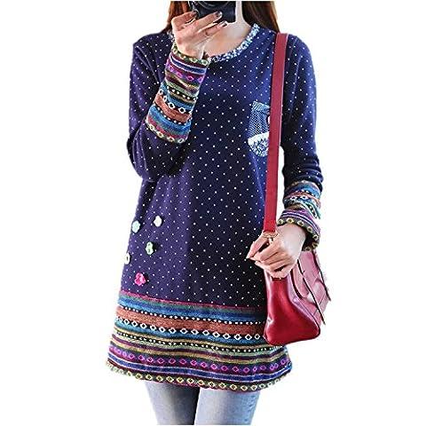 iHAIPI - Damen Neue Mode Winter-dimensionale Blumen Welle Punkt Rundhalsausschnitt Stitching Langarm-Shirt und lange Abschnitte (L, (Brown Kleid Jeans)