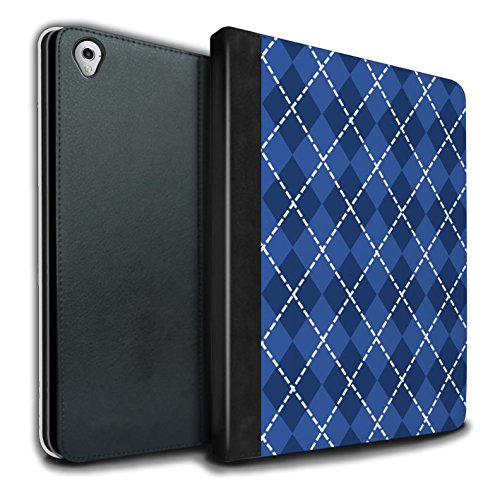 Stuff4® PU-Leder Hülle/Case/Brieftasche für Apple iPad Pro 9.7 Tablet/Winter Argyle Muster/Blau Mode Kollektion Argyle Apple