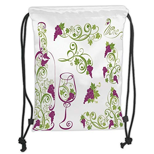 OQUYCZ Drawstring Sack Backpacks Bags,Wine,Wine Bottle and Glass Grapevines Lettering with Swirled Branches Lines Decorative,Purple Lime Green White Soft Satin,5 Liter Capacity,Adjustable STRI Tan Grapevine