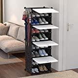Plastic Shoes Cabinet Rack Closet Storage Organizer Tower 8 Cube DIY Modular with White Door Dustproof for Bedroom Living Roo