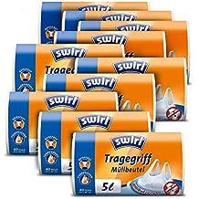 MELITTA Lot de 10 Rouleaux 40 sacs poubelle 5 litres Anti bactérien à poignées Transparent