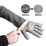 Taglio guanti resistenti, Womdee guanti di filo di acciaio guanti da taglio in acciaio inox con filo metallico per cucina carne taglio legno intaglio operazione imballaggio