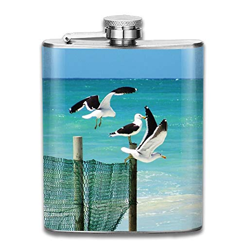 Seagulls Standing On A Wooden Fence Gifts Top Shelf Flasks Stainless Steel Flask