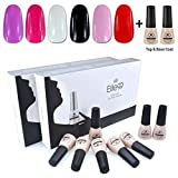 Elite99 Kit Uñas de Gel Esmalte Semipermanente 8pcs Colore Gel + Top&Base Coat Shellac Laca Soak Off Top Coat Base Coat UV LED Manicura Arte 7ml-C52