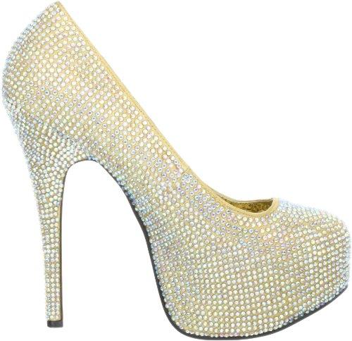 Pleaser Eu-Tee06R/Iri, Escarpins femme Gold Satin-Irid RS