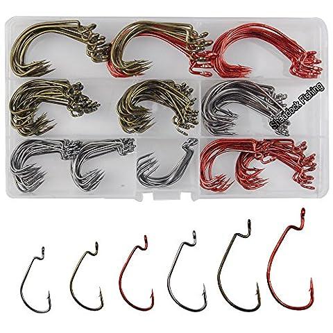 Shaddock Pêche 180pcs/boîte de 6Taille 73162x solide Offset WORM Crochets haute en acier au carbone Sport Circle Pêche Crochets Jig hameçon Ensemble pour pêche en mer