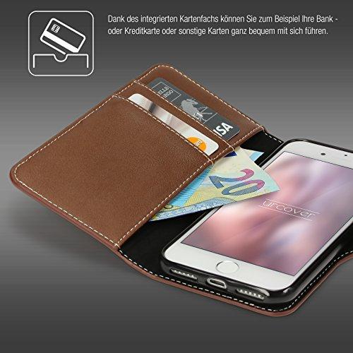 Étui iPhone 7, Urcover Deluxe Wallet Housse [avec Fente pour Cartes + Poche] Coque Apple iPhone 7 Case Noir Smartphone Téléphone Marron