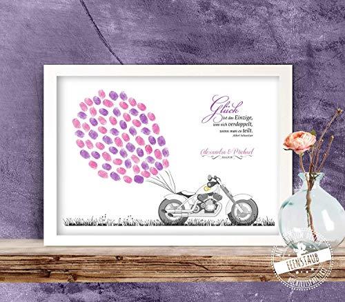 Motorrad Biker Wedding-tree, Fingerabdruck-bild Leinwand zur Hochzeit, Gästebuch-idee, individuell -