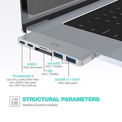 51bqmB4C4fL - [amazon] HAVIT Thunderbolt 3 USB-C-Hub für 2016/2017 Apple MacBook Pro für nur 50,99€