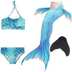 WhiFan 4 Pièces Maillot de Bain Princesse Queue de Sirène Mermaid Bikini sirène Swimmable Maillots de Bain avec Monopalme