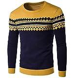Sccarlettly Chandail Tricoté Slim Fit pour Homme, Col Chic Casual Rond Norvégien Chandail Tricoté pour l'hiver, Tricoté en Coton À L'Automne (Color : Gelb, Size : XL)