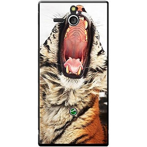 Wild Tiger Étui rigide pour téléphone portable, plastique, Yawning Tiger Portrait, Sony Xperia U