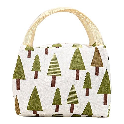 weimay Picknick-Baumwolle Leinen Notebook Taschen wiederverwendbare weiche Kühlung-Lagerung von Lebensmitteln & # xff08; Baum-Muster & # xff09; (Baum Lagerung)