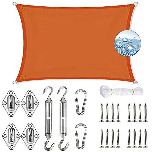 HRUI Sonnensegel, Hochwertigem Windschutz Tarp, Sonnenschutz wasserabweisend, für Terrasse, Garten, Außenanlagen und Aktivitäten-Rouge Orange-3x3.5m