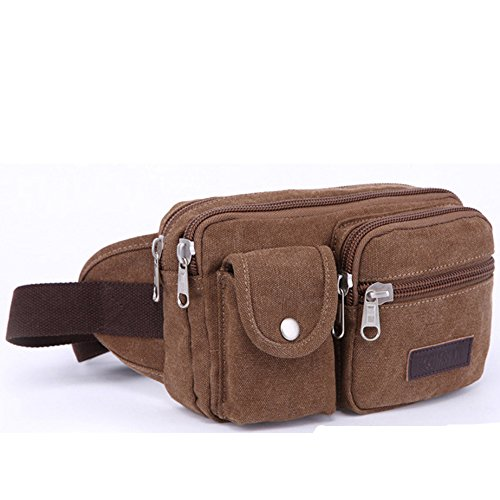 Gendi Männer Retro Fanny Casual Taille Tasche im Freien Sport Canvas Kleine Gürtel Schulter Kiste Pack für Reise Vintage Bike Side Bag (Kaffee) Kaffee