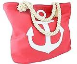 Sonia Originelli Strandtasche Anker Uni 'Anna' Beachbag Shopper Maritim Farbe Koralle