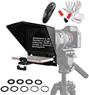 Desview T2 Portable Teleprompter Kit with Lens Adapter Ring, Remote Controller, for Smartphone/Tablet/DSLR Cam