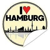 I love Hamburg Aufkleber ❤️ Geschenk Hamburg Freund ❤️ inkl. Postkarte Alles Gute ❤️ rund ❤️ 9,5 cm ❤️ Gestalten Sie Ihre Geschenke individuell