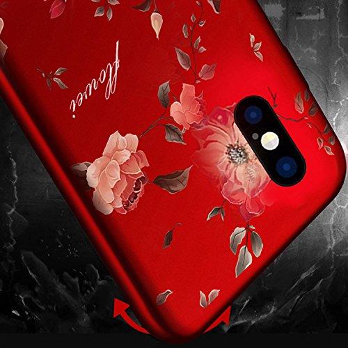 iPhone X (iPhone 10)Schutzhülle,Vandot Blumen Muster 3D Handy Hülle Bumper Ultra Dünn Leicht Schutz Tasche Schale Premium PC Hart Handyhülle Passgenaues Mandala Phone Case Cover mit Kickstand Wrist St Schwarz 1