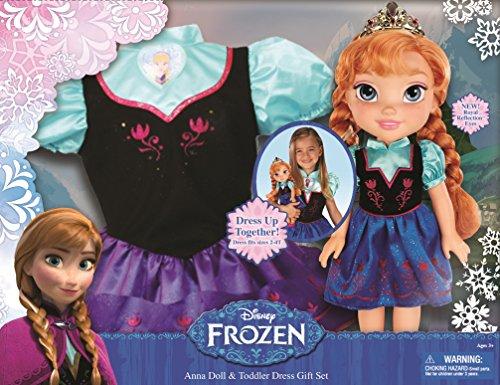 Jakks Pacific - Frozen - Eiskönigin Set Anna Puppe und Kleid für Mädchen Frozen Disney Princess W Kid Kleid Anna