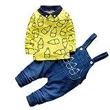Baby Jungen Mädchen Outfit Set Latzhosen + Langarm-Milchflasche Printed Top T-Shirt Neugeborenen Kleinkind Kleidung