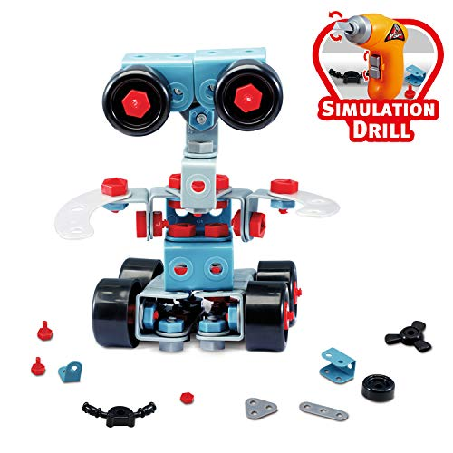 Kids Robotic Blocks Kits - 286 Pieces Construction Building Toy Set Creating More Than 10+ Different Shapes - Best Take Apart Educational Engineering Toy Set for 6 Years Old Boys Girls