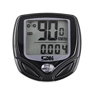 BlueBeach® Wireless LCD Bike Computer Speedometer Waterproof Speedo Bicycle Bike Meter Cycle Computer - Suitable for Mountain, Road, Hybrid or BMX