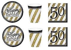 Idea Regalo - Party Store web by casa dolce casa Festa Compleanno 50 Anni Black & Gold Coordinato ADDOBBI TAVOLA Festa,Compleanno 50 Anni,Evento Nero E Oro Kit n°3 CDC-(24 Piatti,24 Bicchieri,32 TOVAGLIOLI)