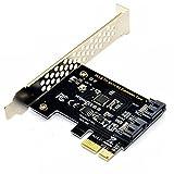 TOOGOO Scheda di controllo PCI Express SATA 3, 2 porte PCIe SATA III 6GB/s Convertitore adattatore interno per Desktop PC Support SSD e HDD con Staffa a basso profilo