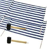 2x IDENA Windschutz ca.800x80cm für Strand, Camping und Garten 8mm im Set mit passendem Gummihammer